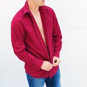 Express Men's Red Casual Button Down Shirt